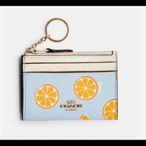 Coach Orange Print Key Fob ID Case